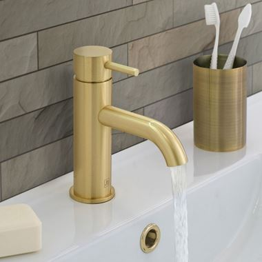 VOS Single Lever Basin Mixer - Brushed Brass